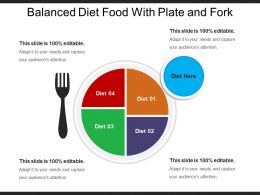 Balanced Diet Food With Plate And Fork