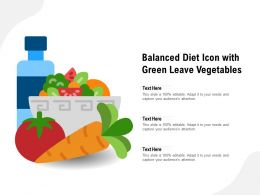 Balanced Diet Icon With Green Leave Vegetables