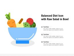 Balanced Diet Icon With Raw Salad In Bowl