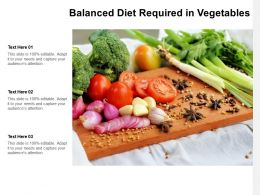 Balanced Diet Required In Vegetables