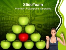 Balancing Diet Green Apple Isolated Health PowerPoint Templates PPT Themes And Graphics 0213