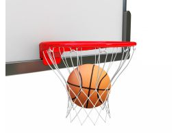 Ball Inside Ring For Basketball Game Stock Photo
