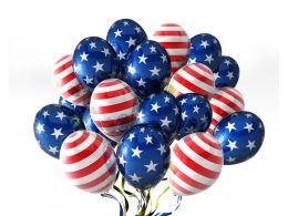Balloons In Traditional Colors And American Flag Design Stock Photo
