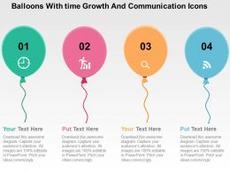 Balloons With Time Growth And Communication Icons Flat PowerPoint Design