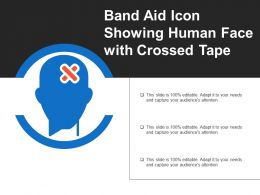 Band Aid Icon Showing Human Face With Crossed Tape