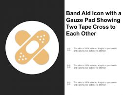 Band Aid Icon With A Gauze Pad Showing Two Tape Cross To Each Other
