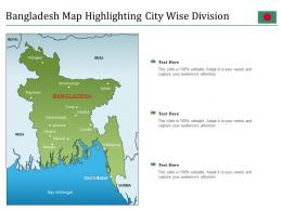 Bangladesh Map Highlighting City Wise Division