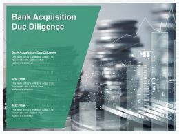 Bank Acquisition Due Diligence Ppt Powerpoint Presentation Layouts Slideshow Cpb