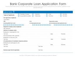 Bank Corporate Loan Application Form