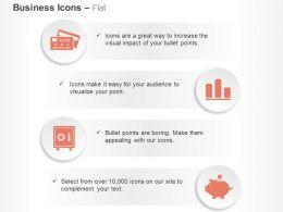 Bank Debit Card Bar Graph Safe Piggy Bank Ppt Icons Graphics