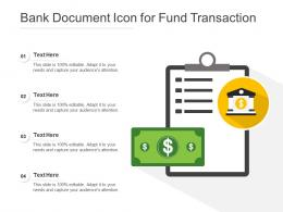 Bank Document Icon For Fund Transaction
