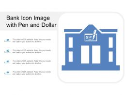 Bank Icon Image With Pen And Dollar