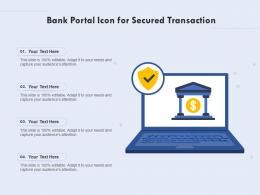 Bank Portal Icon For Secured Transaction