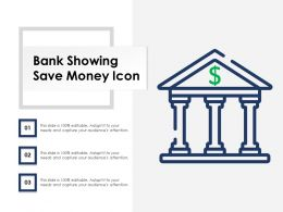 Bank Showing Save Money Icon