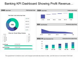 Banking Kpi Dashboard Showing Profit Revenue Transaction Size