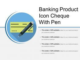 Banking Product Icon Cheque With Pen