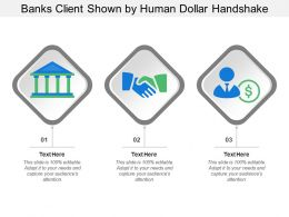 Banks Client Shown By Human Dollar Handshake
