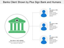 Banks Client Shown By Plus Sign Bank And Humans