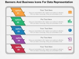 Banners And Business Icons For Data Representation Flat PowerPoint Design