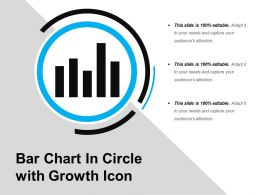 Bar Chart In Circle With Growth Icon