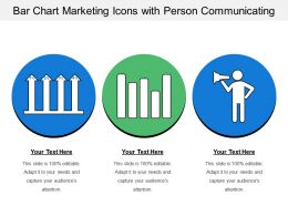 Bar Chart Marketing Icons With Person Communicating
