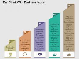 Bar Chart With Business Icons Flat Powerpoint Design