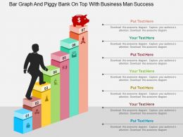 Bar Graph And Piggy Bank On Top With Business Man Success Flat Powerpoint Design