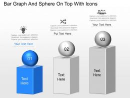 Bar Graph And Sphere On Top With Icons Powerpoint Template Slide