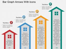 Bar Graph Arrows With Icons Flat Powerpoint Design