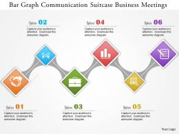 Bar Graph Communication Suticase Business Meetings Powerpoint Template