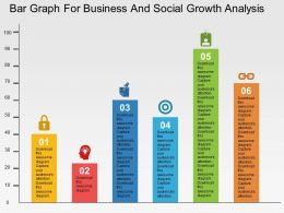Bar Graph For Business And Social Growth Analysis Flat Powerpoint Design