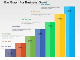 Bar Graph For Business Growth Flat Powerpoint Design
