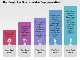 Bar Graph For Business Idea Representation Flat Powerpoint Design