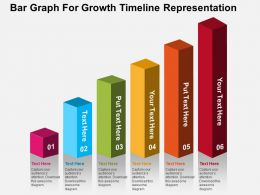 Bar Graph For Growth Timeline Representation Flat Powerpoint Design