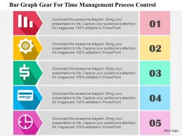 Bar Graph Gear For Time Management Process Control Flat Powerpoint Design