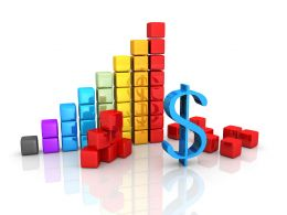 Bar Graph Made Of Cube With Dollar Symbol Stock Photo