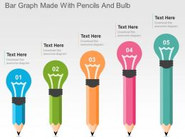 Bar Graph Made With Pencils And Bulb Flat Powerpoint Design