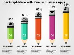 Bar Graph Made With Pencils Business Apps Flat Powerpoint Design