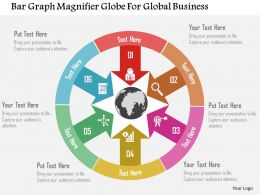 Bar Graph Magnifier Globe For Global Business Flat Powerpoint Design