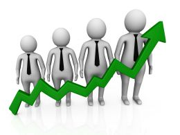 Bar Graph Of 3D Men And Green Growth Arrow Stock Photo