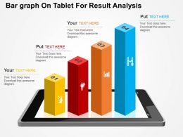 Bar Graph On Tablet For Result Analysis Flat PowerPoint Design