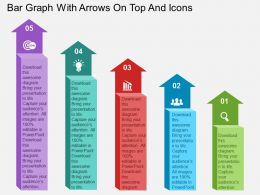 Bar Graph With Arrows On Top And Icons Flat Powerpoint Design