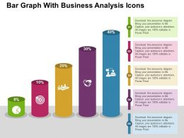 Bar Graph With Business Analysis Icons Flat Powerpoint Design