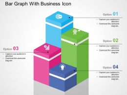 Bar Graph With Business Icon Flat Powerpoint Design