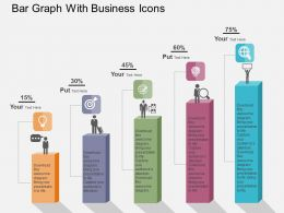 Bar Graph With Business Icons Flat Powerpoint Design