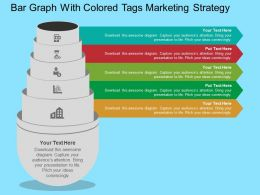 Bar Graph With Colored Tags Marketing Strategy Flat Powerpoint Design