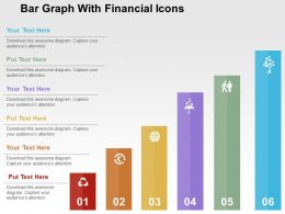 Bar Graph With Financial Icons Flat Powerpoint Design