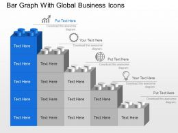 Bar Graph With Global Business Icons Powerpoint Template Slide
