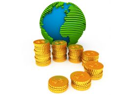 Bar Graph With Globe Made Of Gold Coins Stock Photo