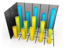 Bar Graph With Grid In Yellow And Blue To Display Results Stock Photo